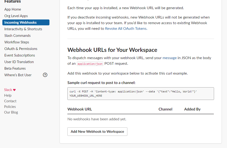 Webhook URLs for Your Workspace
