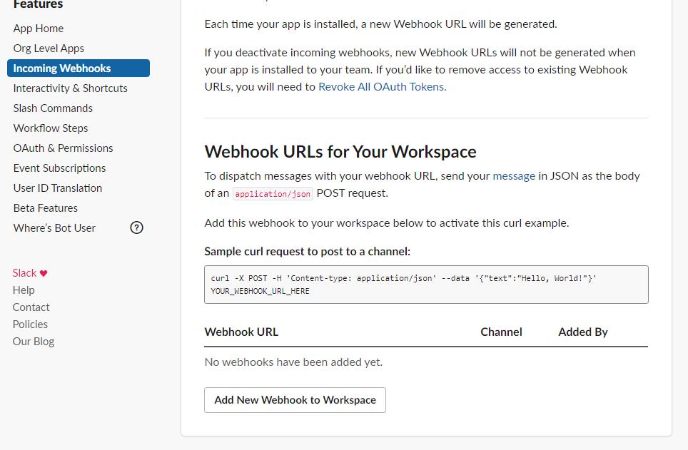 Webhook URLs for Your Workspace