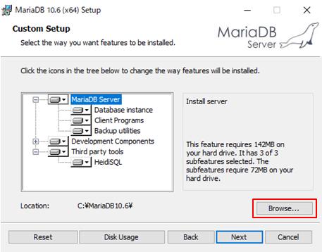 MariaDBインストールウィザード1