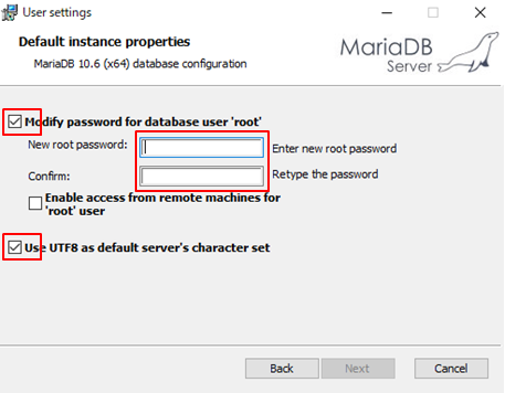 MariaDBインストールウィザード2