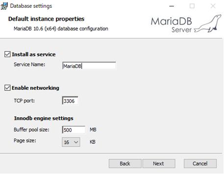 MariaDBインストールウィザード3